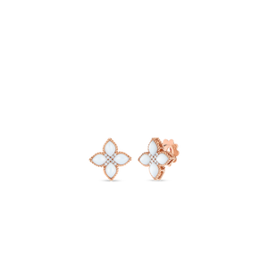 Venetian Princess 18K Rose Gold Mother of Pearl and Diamond Flower Studs