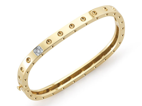 18K Yellow and White Gold 1 Row Bangle with Diamond Accent