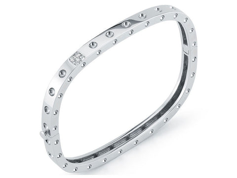 18K White Gold 1 Row Bangle with Diamond Accent