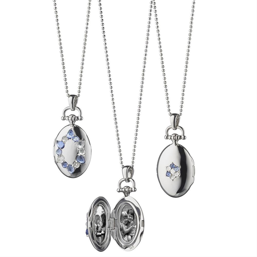 "Sterling Silver Oval ""Burst"" Locket With Blue Sapphires"