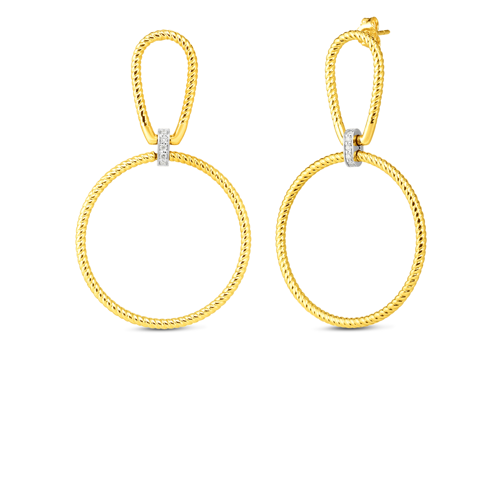 Classica Parisienne 18K Two-Tone Twisted Stirrup and Circle Drop Diamond Earrings