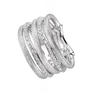 Jaipur 18K Hand Engraved White Gold Ring