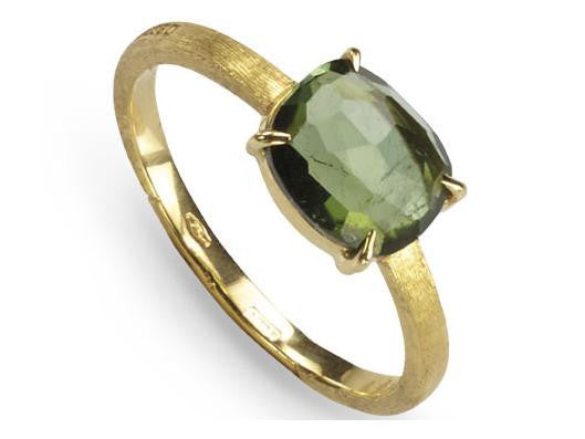 Delicati 18K Hand Engraved Yellow Gold Ring With Green Tourmaline