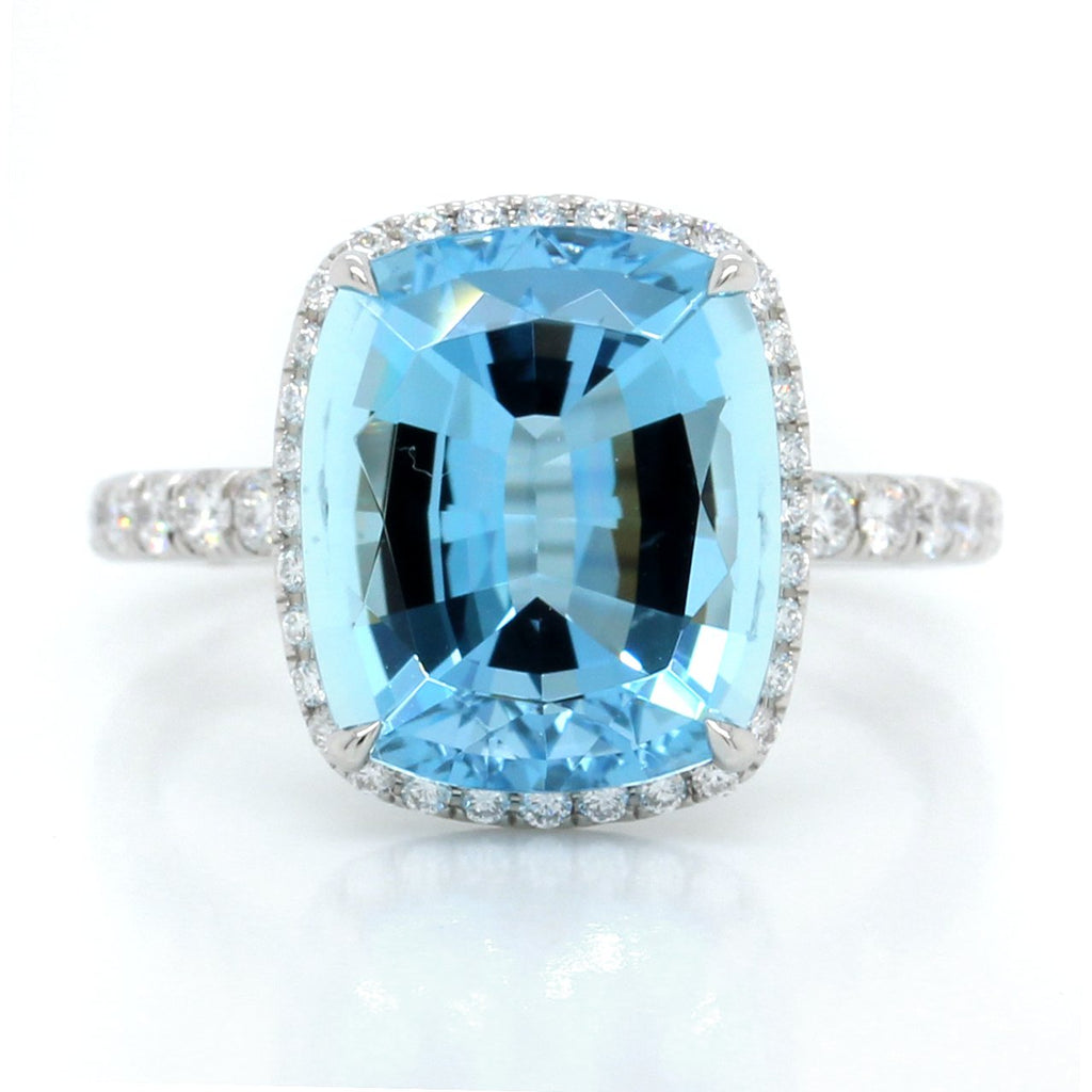 Platinum Cushion Cut Aquamarine and Diamond Halo Ring