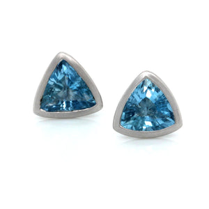 18K White Gold Bezel Set Trillion Aquamarine Earrings