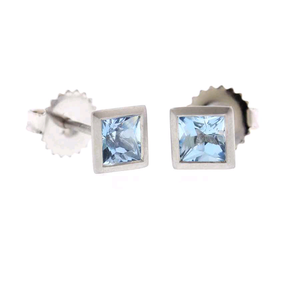 18K White Gold Aquamarine Studs