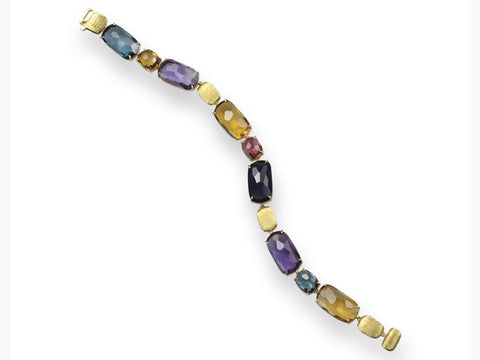 Murano 18k Hand Engraved Yellow Gold Bracelet With Gem Stones