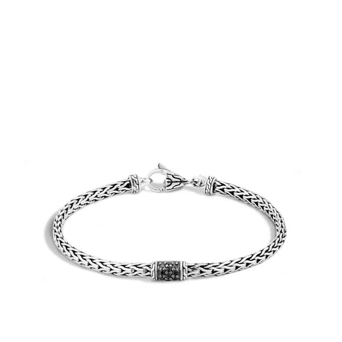 Sterling Silver Classic Chain Slim Bracelet with Black Sapphires