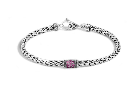 Sterling Silver Classic Chain Slim Bracelet with Pink Sapphire