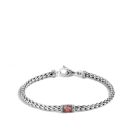 Sterling Silver Classic Chain Slim Bracelet with Red Sapphire