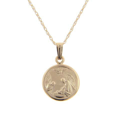 14K Child's Yellow Gold Guardian Angel Medal