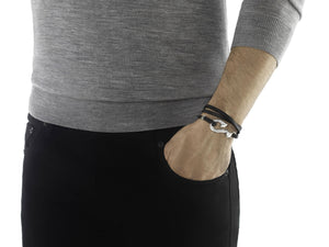 Dayak Wrap Bracelet in Silver and Leather