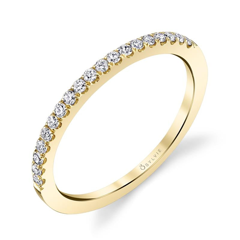 18K Yellow Gold Prong Set Wedding Band