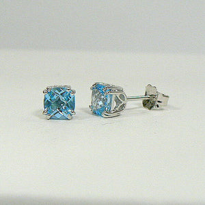 14K White Gold Cushion Blue Topaz Earrings