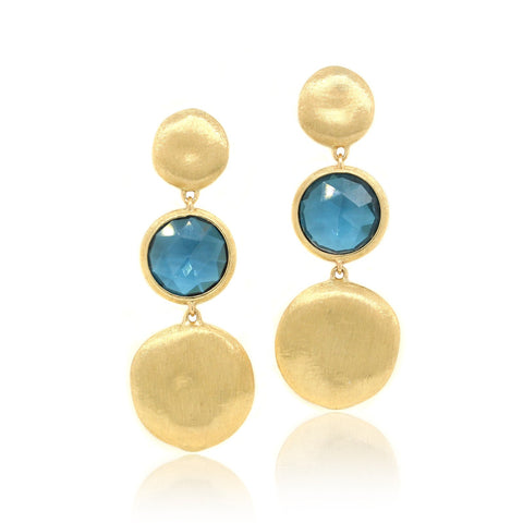 18K Yellow Gold Jaipur Blue Topaz Drop Earrings