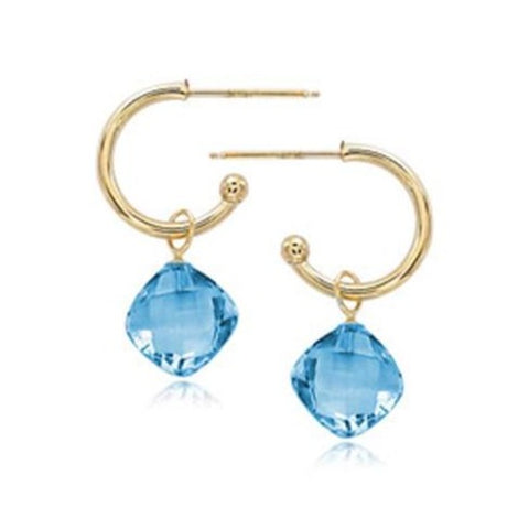 14K Yellow Gold Blue Topaz Drop Earrings