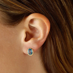 14K Yellow Gold Blue Topaz Earrings
