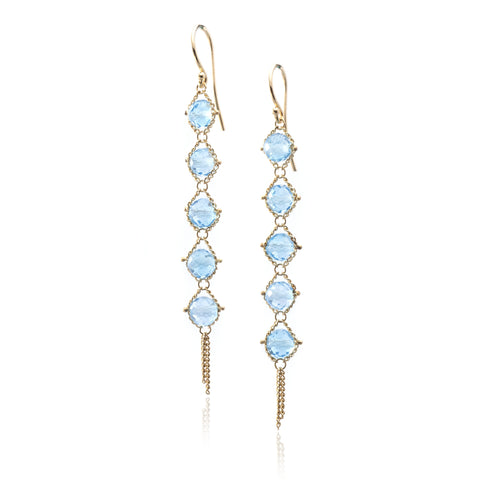 18K Yellow Gold Blue Topaz Drop Earrings