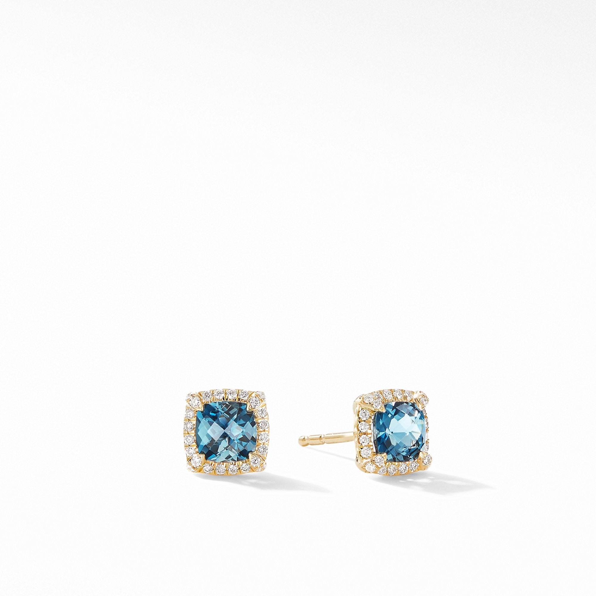 Petite Chatelaine® Pavé Bezel Stud Earrings in 18K Yellow Gold with Hampton Blue Topaz