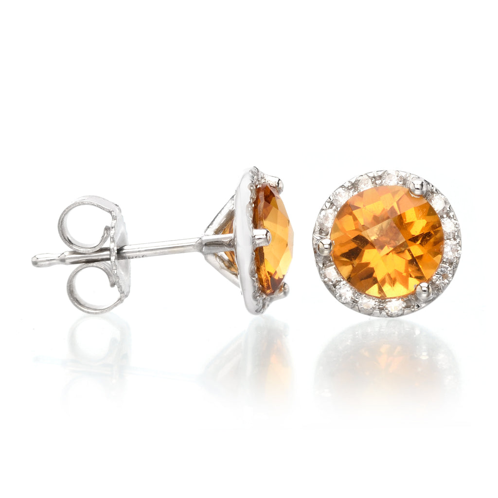 14K White Gold Diamond Halo Citrine Studs