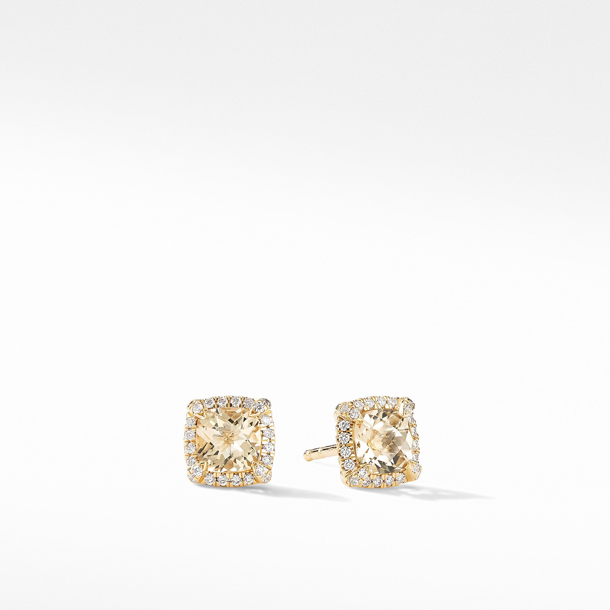Petite Chatelaine® Pavé Bezel Stud Earrings in 18K Yellow Gold with Champagne Citrine