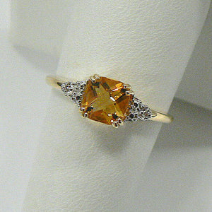 14K Yellow Gold Cushion Citrine and Diamond Ring