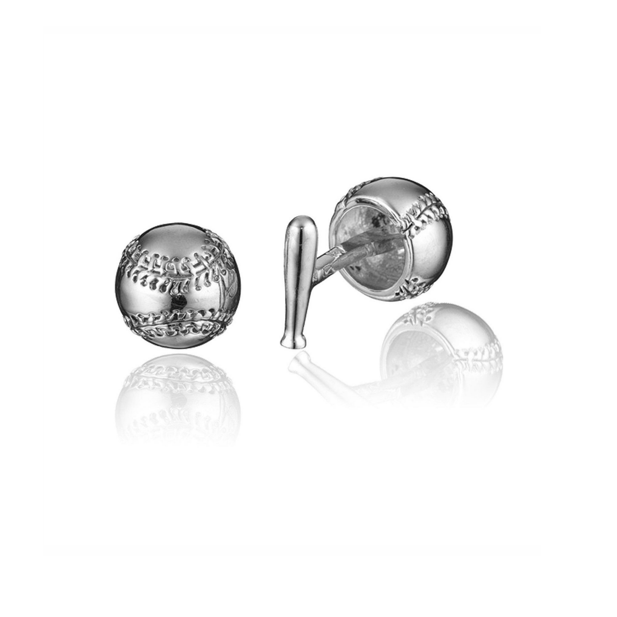 Sterling Silver Baseball & Bat Cufflinks