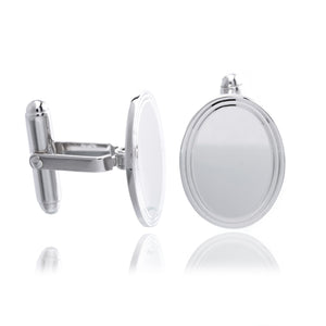 Sterling Silver Oval Etched Border Cufflinks