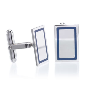 Sterling Silver Rectangle Blue Border Cufflinks