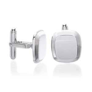 Sterling Silver Bevel Edge Cushion Polished Cufflinks