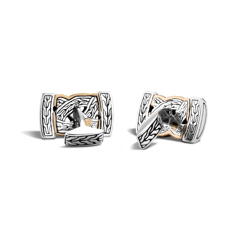 Sterling Silver and Bronze Classic Chain Braided Cufflinks