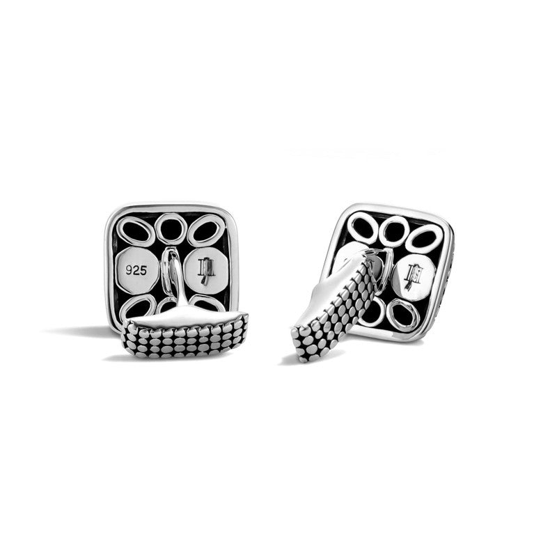 Sterling Silver Dot Square Dome Cufflinks