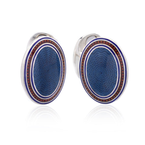 Sterling Silver Oval Enamel Cufflinks