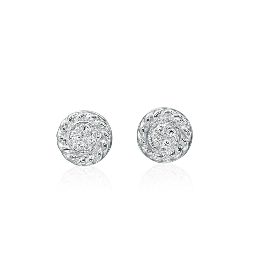 14K White Gold Cable Edge Pave Diamond Studs