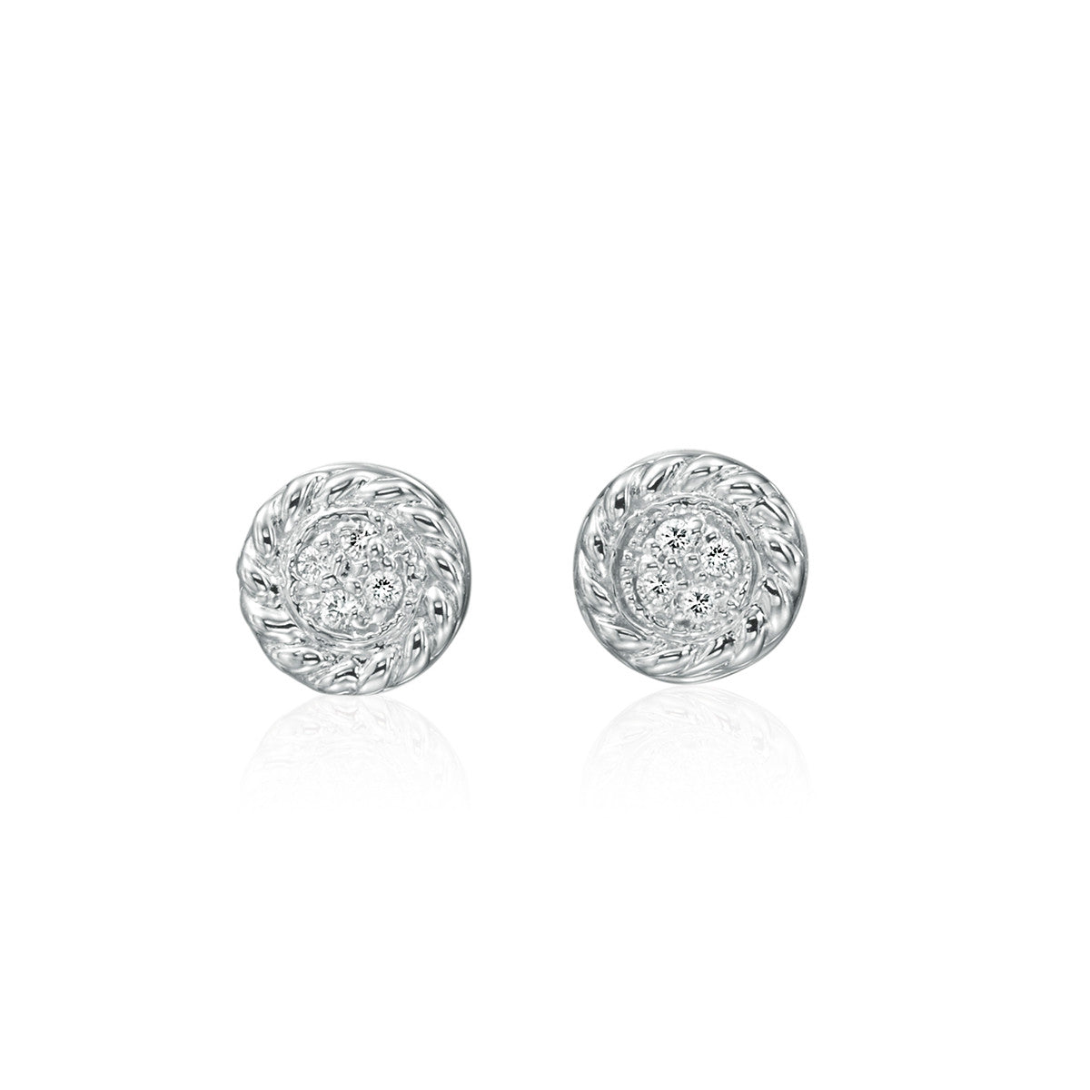 14K White Gold Cable Edge Pave Diamond Stud Earrings