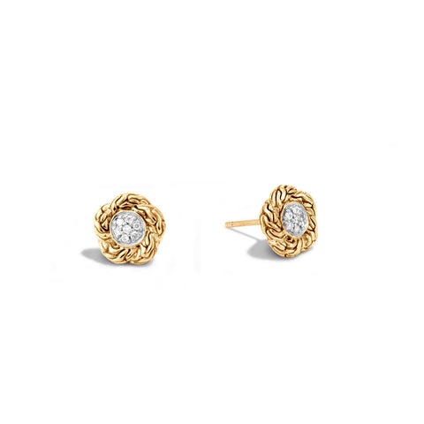 18K Yellow Gold Classic Chain Pave Stud Earrings