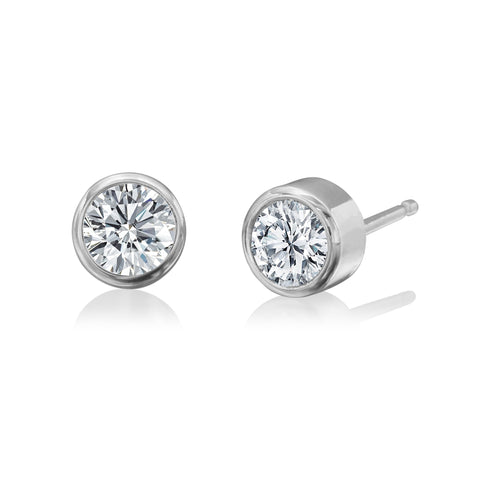 14K White Gold Bezel Set Diamond Earrings