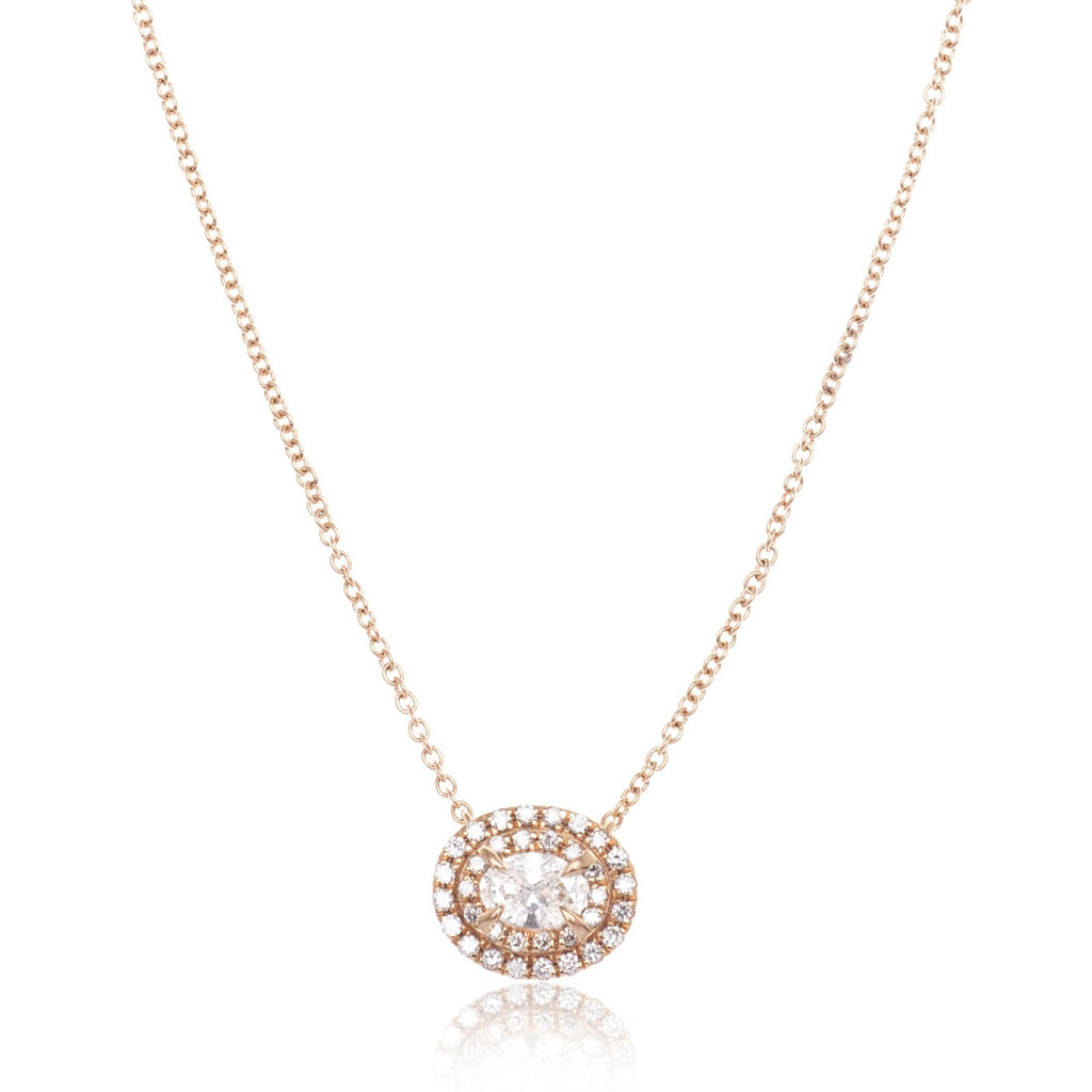 18K Rose Gold Double Halo Oval Diamond Pendant