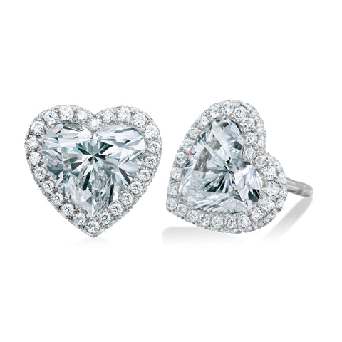 Platinum Heart-Shaped Diamond Earrings