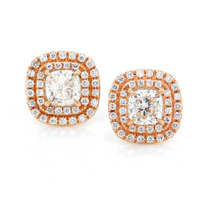 18K Rose Gold Double Halo Cushion Diamond Earrings