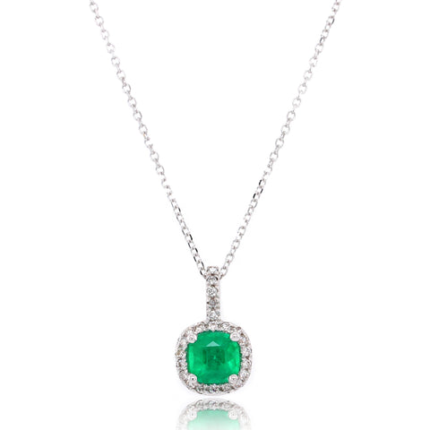 14K White Gold Emerald and Halo Diamond Pendant