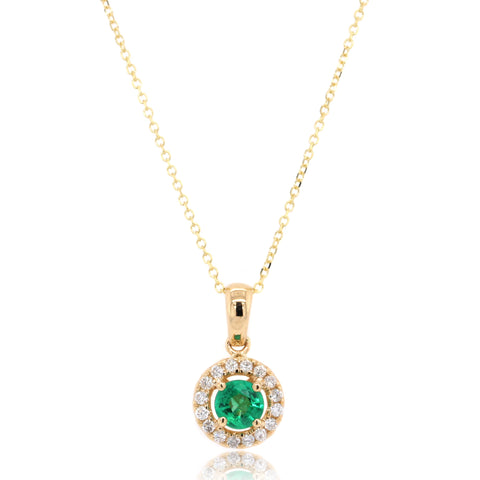 14K Yellow Gold Emerald and Diamond Halo Pendant
