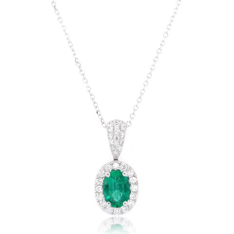 14K White Gold Oval Emerald Halo Necklace