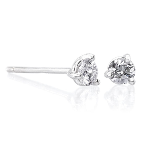 14K White Gold Diamond Pyramid Studs