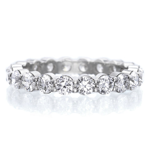 18K White Gold Two Row Satin Finish Diamond Eternity Band