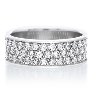 Platinum Pavé Silk Diamond Three Quarter Round Band Size 5-6