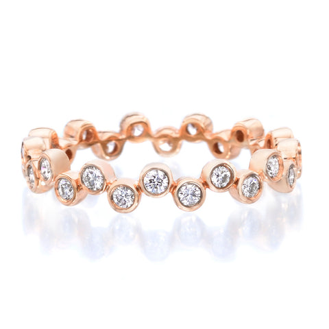18K Rose Gold Modern Bubble Diamond Band
