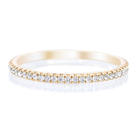 18K Yellow Gold Stackable Diamond Eternity Band