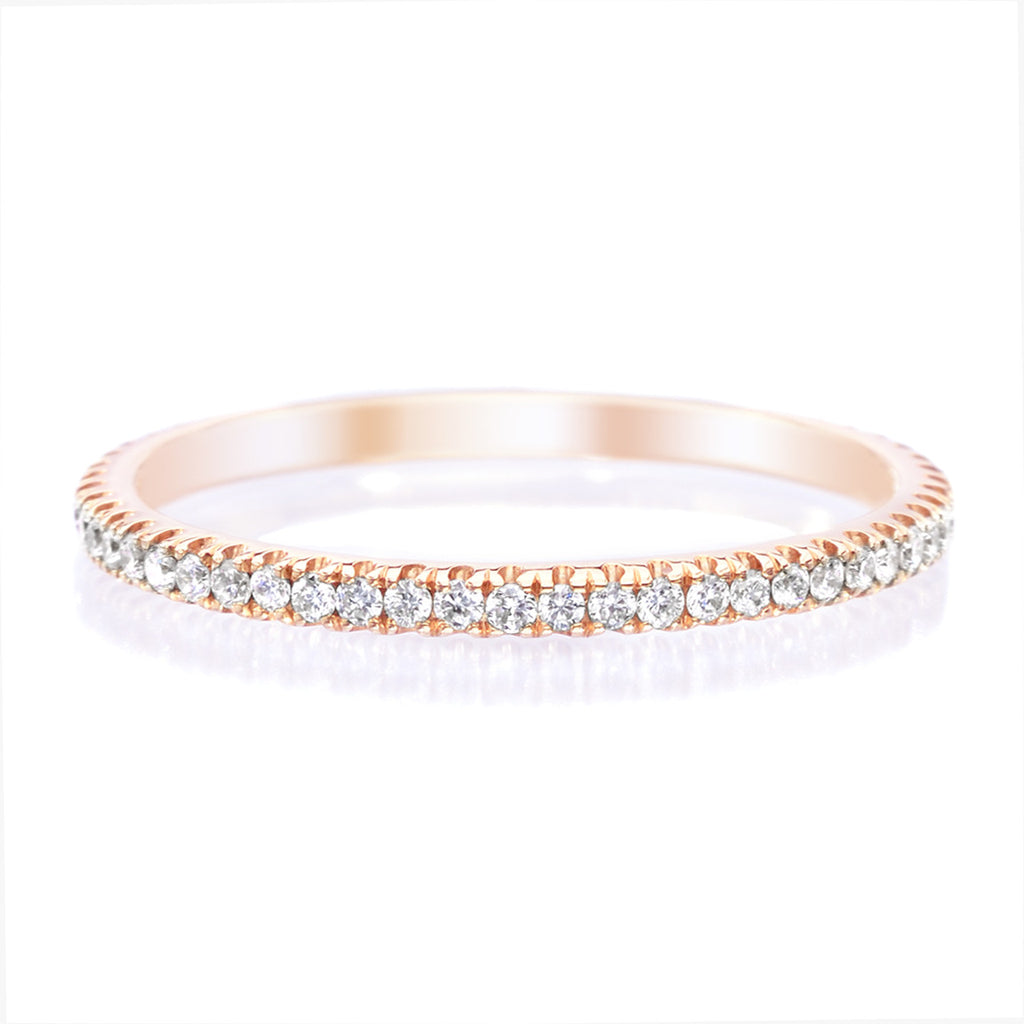 18K Rose Gold Stackable Diamond Eternity Band