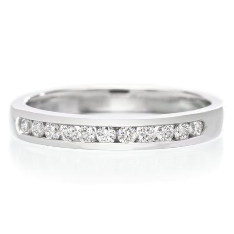 Platinum 11 Stone Channel Set Diamond Band .25ctw